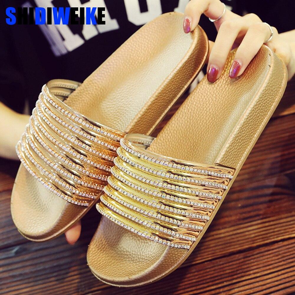 2019 Mode Frauen Hausschuhe Sommer Bling Strass Dame Sandalen Plattform Goldene Silber Schuhe Frauen Strand Rutschen N932 AusgewäHltes Material