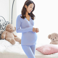 Pregnant Women Pajamas Suit Tops with Pants Long Sleeves Warm Underwear for Autumn BM88