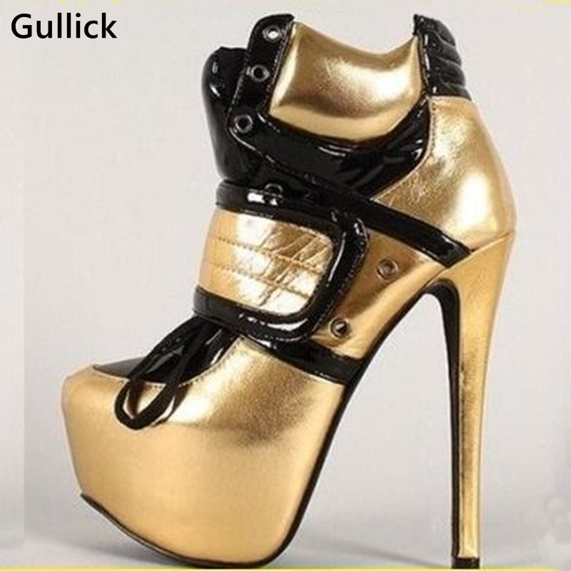 Gullick New Design Ankle Boots Lace Up Pointed Toe 4.5 CM Platform Shoes Super High Thin Heel Sexy 15 CM High Night Club Shoe