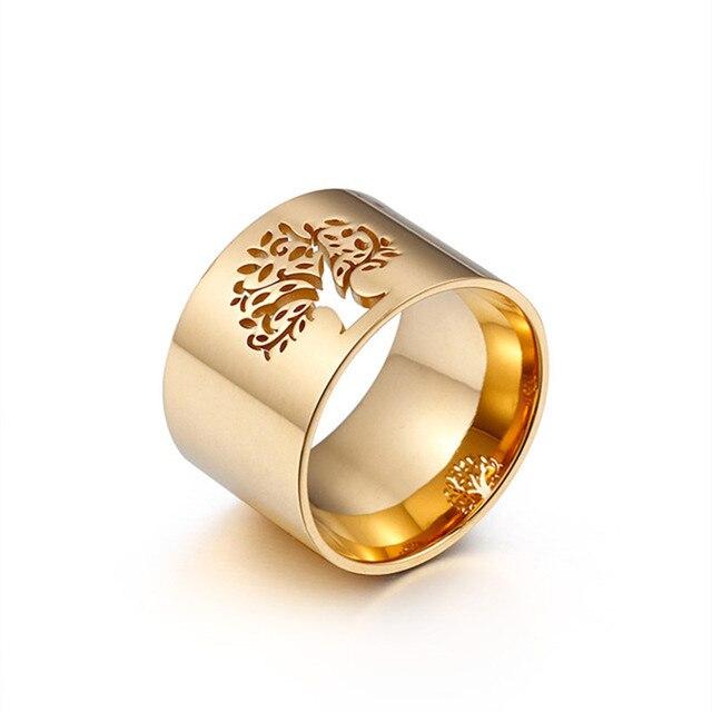 Nouveau 316L en acier inoxydable arbre de vie anneaux pour femmes trèfle anneaux motif doigt anneaux fille luxe fête/anneaux de mariage bijoux