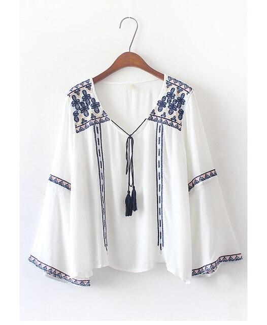 0ae20b31c8 Damska Tunika Top Mexican Chłop Haftowane Kwiaty Biała Bawełniana Bluzka  tanie odzież chiny