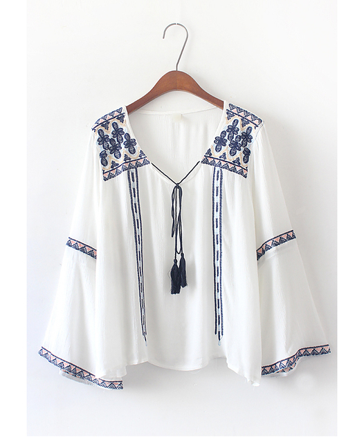 7bc5eb1484429 Women s Peasant Tunic Top Mexican Embroidered Flowers White Cotton Blouse  cheap clothes china