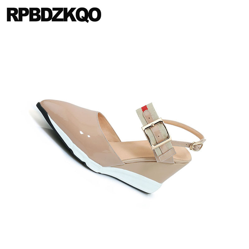 Thin Strap Heels Wedge Size 33 Pointed Toe Mary Jane Slingback Sandals Ladies 3 Inch Shoes Genuine Leather High Pumps Patent