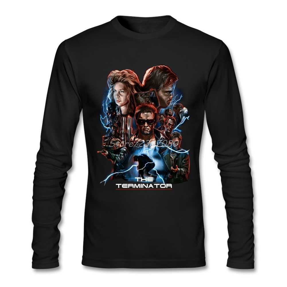Il Terminator Movie T Shirt O-Collo Cotone A Maniche Lunghe T-Shirt Hiphop Vegan Camicie da Uomo
