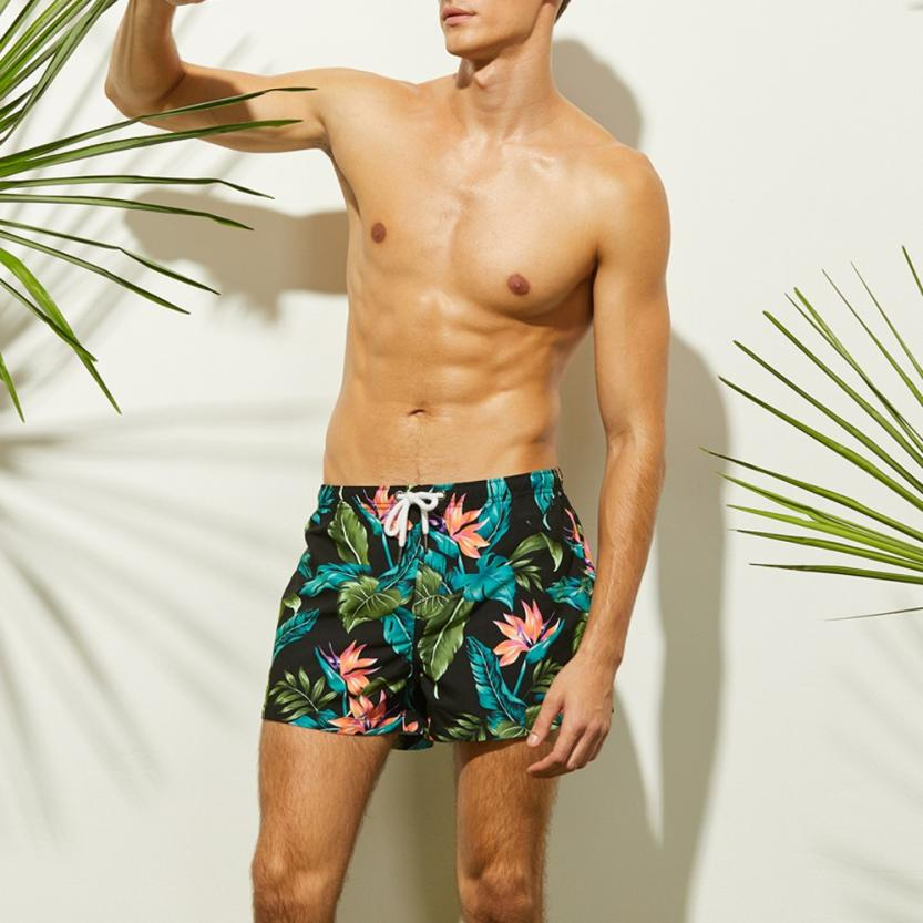 Mens Breathable Swim Trunks Pants Swimwear Shorts Slim Wear Briefs Flower Print Beachear Bathing Suit Board Shorts Swimwear 2019