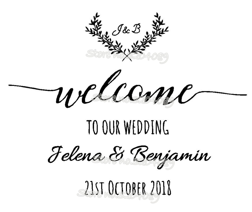 Custom Welcome To Our Wedding Sticker Bride and Groom Names Wedding ...
