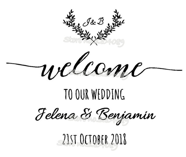 Custom Welcome To Our Wedding Sticker Bride And Groom Names Date Customized Board Laurel Reception
