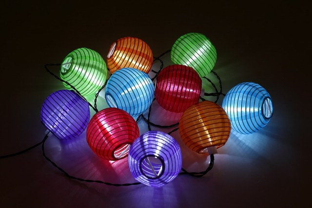 Solar Ed Led Mini Colorful Lantern String Lighting 10pcs For Holiday Parties Outdoor Activities