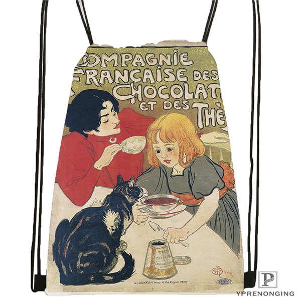 Custom Le-Chat-Noir-mod  Drawstring Backpack Bag Cute Daypack Kids Satchel (Black Back) 31x40cm#2018611-214