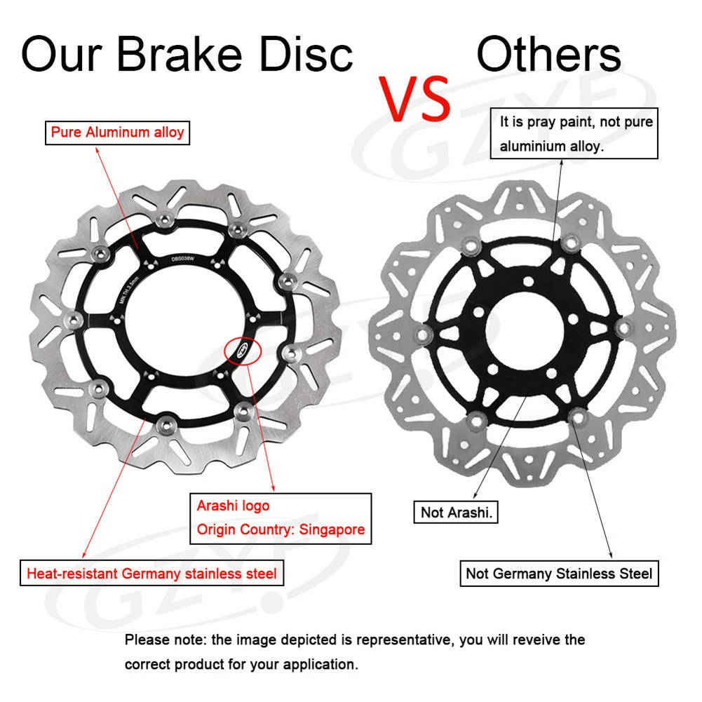 310mm Arashi Front Brake Disc Rotors Set for Suzuki GSXR600 GSXR750 2008-2012 K8 & GSXR1000 2009-2011 K9 Stainless Steel + Al stainless steel front rear brake disc rotors set for kawasaki 2008 2012 ninja zx10r