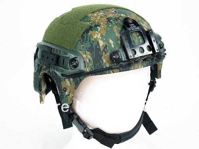 IBH Helmet With NVG Mount & Side Rail Digital Camo Woodland Desert Camo GREEN TAN ACU MC BK AT OD