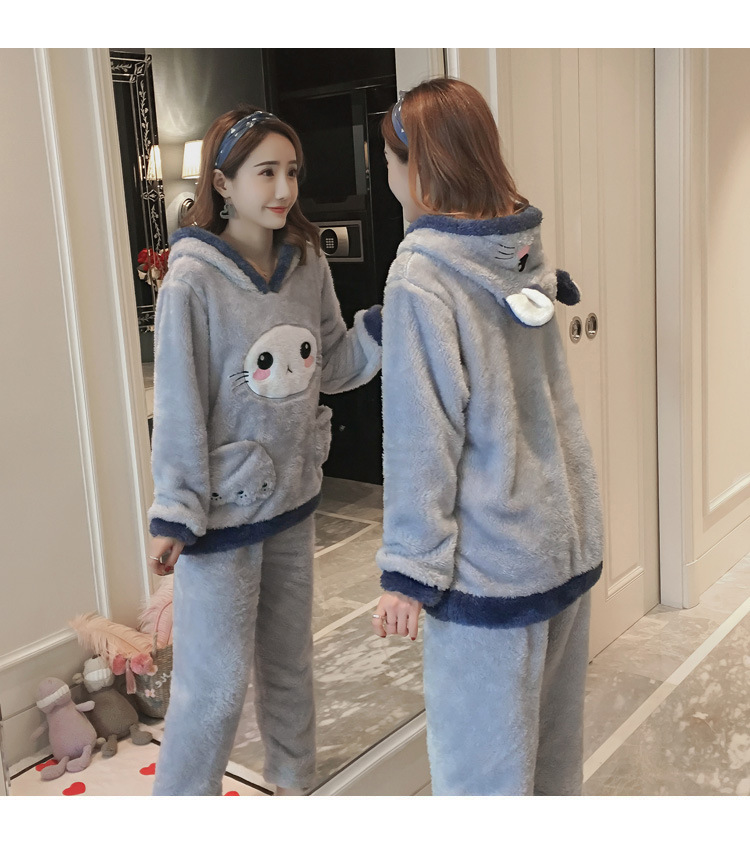 Winter Women Pajama Flannel Sleepwear Long Sleeves Hot Pajamas For Women Velvet Pajama Women Soft Clothing 86