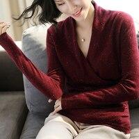 100% кашемировый свитер Для женщин простой Дизайн крест v образным вырезом одежда с длинным рукавом 3 цвета женские Повседневное пуловеры три