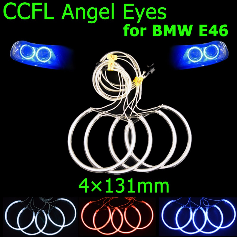 hippcron 4x131mm CCFL Angel Eyes Headlight Halo Rings Kit Decoration Head Lamp Color Blue Red White for BMW E46 E39 E38 E36 free shipping super bright ccfl angel eyes halo rings kit for bmw e83 x3 auto headlight 4 rings 2 waterproof inverters page 7