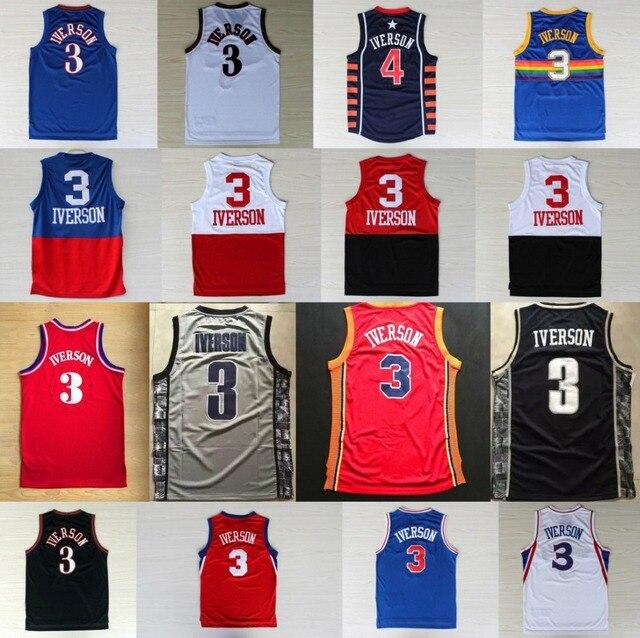 36e280c4e85 Allen Iverson Jersey Red White Blue Black Gray #3 MESH Allen Iverson Basketball  Jersey Top Stitched Quality Hot Sale Drop Ship
