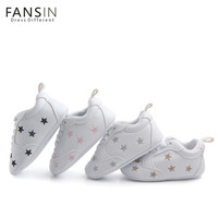 Fansin Brand Baby Shoes Newborn Boys Girls Heart Star Pattern First Walkers Soft Soled Shoes Toddler