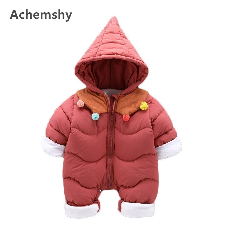 Baby Plus Velvet Thickening Cotton-padded Clothes Boys Girls Full Sleeve Hooded Romper Infant Warm Outwear Jumpsuit