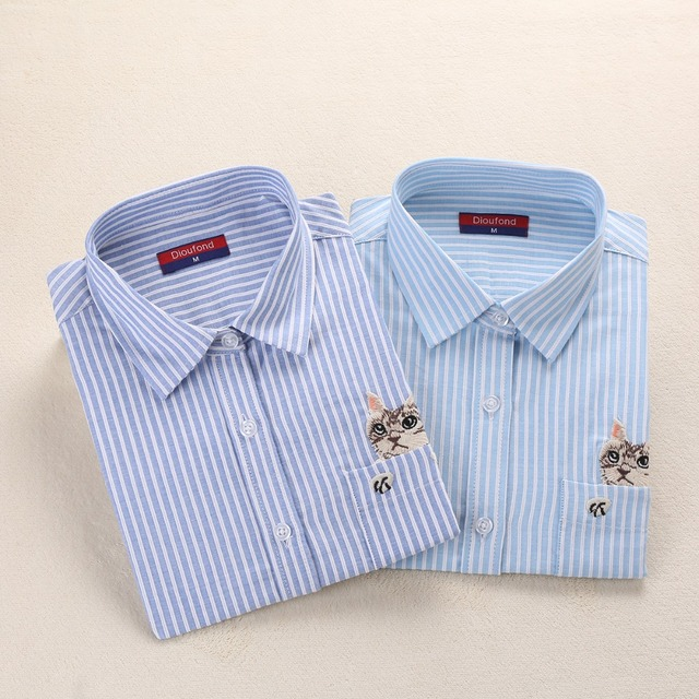 3eda549f0 Dioufond Women Striped Long-Sleeve Shirt Turn-Down Collar Ladies Cotton  Blouses Female Office Tops Pocket With Cat Embroidery