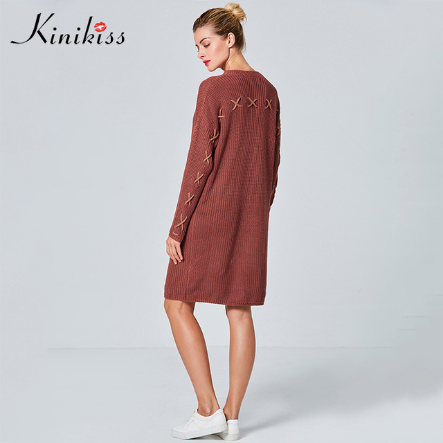 Kinikiss casual sweater dress fashion elegant plain round neck lace-up  straight knee-length pullover new dress 5a72466bc