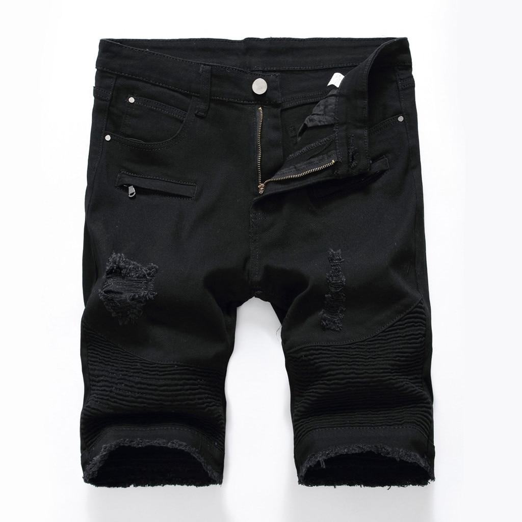 Womens Shorts Denim Jeans Vintage-Style Zipper Plus-Size Summer Hole Straight Crumple-Fit