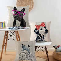 Lovely Bull Dog Cotton Linen Cushion Dog Pattern Car Sofa Chair Seat Square Pillowcase Throw Pillow Cover Home Deco