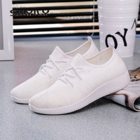 SWYIVY Woman Sneakers Flat Light Weight 2018 Breathable Woman Casual Shoes 41 Solid Color Woman Sneakers