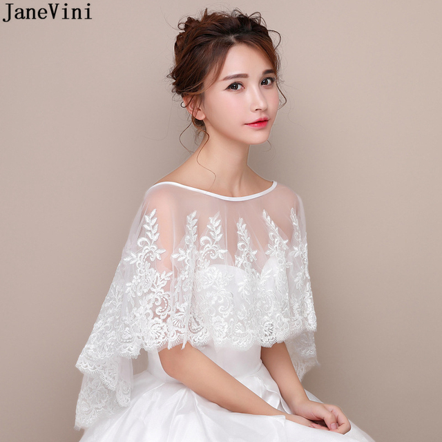 JaneVini New White Bridal Lace Bolero Appliques Sequined Capes Low Front Long Back Summer Shrug Women Shawls Wedding Accessories