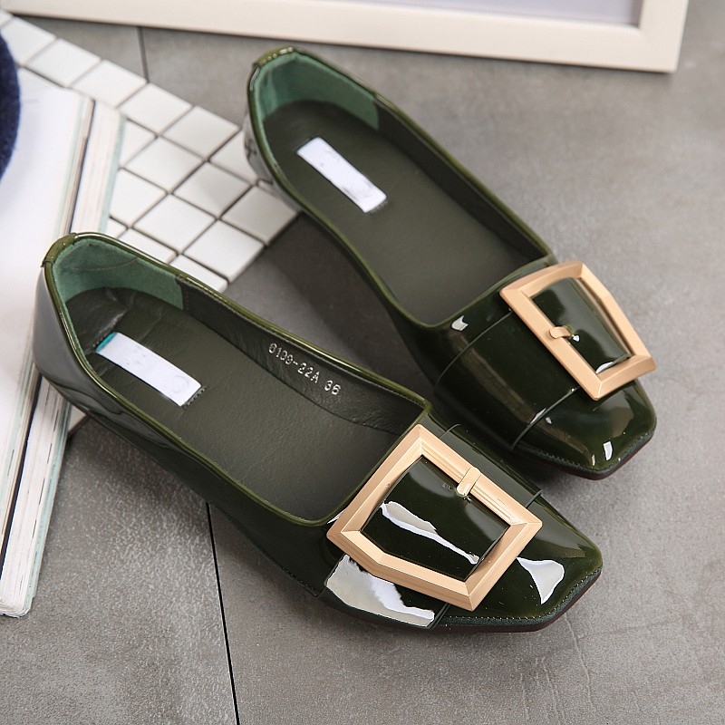 2017 Women's Basic Flats Shoes Spring Autumn Square Toe Patent Leather Metal Button Female Ballet Shoes Ladies Casual Loafers women ladies flats vintage pu leather loafers pointed toe silver metal design