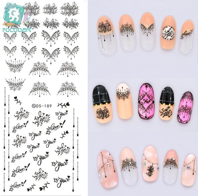 Rocooart DS189 Nail Water Transfer Nails Art Sticker Black Harajuku Water Drop Nail Wraps Sticker Watermark Fingernails Decals ds300 2016 new water transfer stickers for nails beauty harajuku blue totem decoration nail wraps sticker fingernails decals