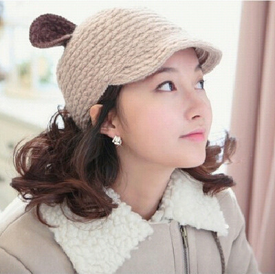 BomHCS Women's Fashion Winter Warm Crochet Beanie Devil Horns Cat Ear Handmade Knitted Hat Cap футболка toy machine devil cat navy