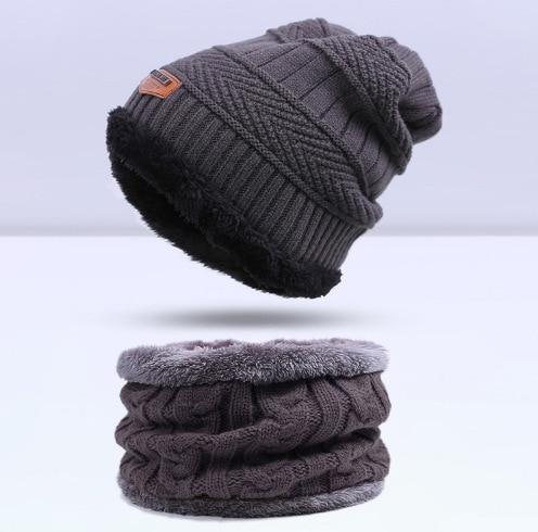 Зимняя вязаная шапка, шарф, набор, Мужская однотонная теплая шапка, шарфы, мужские зимние уличные аксессуары, шапки, шарф, 2 штуки - Цвет: Grey1