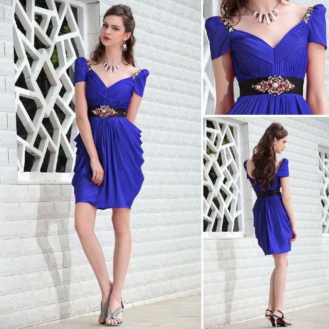 Hot Sale 2012 Cap Sleeve Beaded Ruched Sexy Lady Blue Short Club Wear Dress 6013
