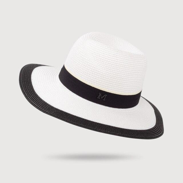 HSS brillo Panamá sombrero de paja del verano de las mujeres sombreros  blanco negro calle Sol 55c50fd4041