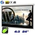 84 polegadas 4:3 de vidro frisado tela motorizada projetor tela de projeção proyeccion pantalla para LED LCD HD filme