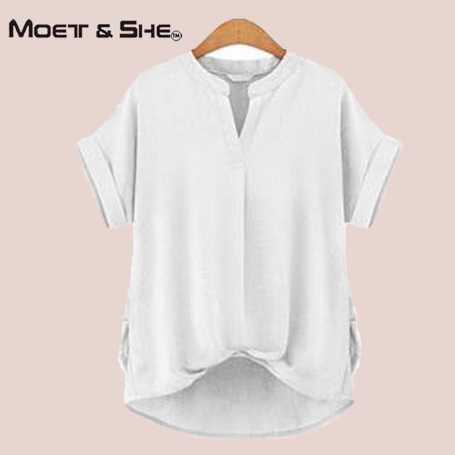 Mulheres verão Ocasional T Camisa de Grandes Dimensões Top de Algodão Puro Rosa marinha branco camiseta mulheres clothing plus size xxxl 3xl T65247R