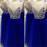 Real Photos Royal Blue Prom Dresses 2017 Modest Robe De Bal Beading Crystal Imported Party Dress