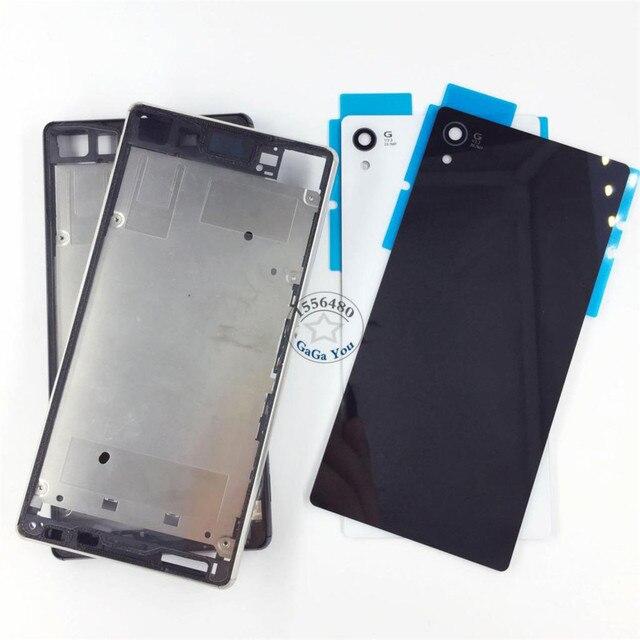 Для Sony Xperia Z4 Z3 + Z3 Plus E6553 Полный Жилищно Передняя Рамка Рамка + Крышка Батарейного Отсека Стекла Корпус Дверь с Клеем
