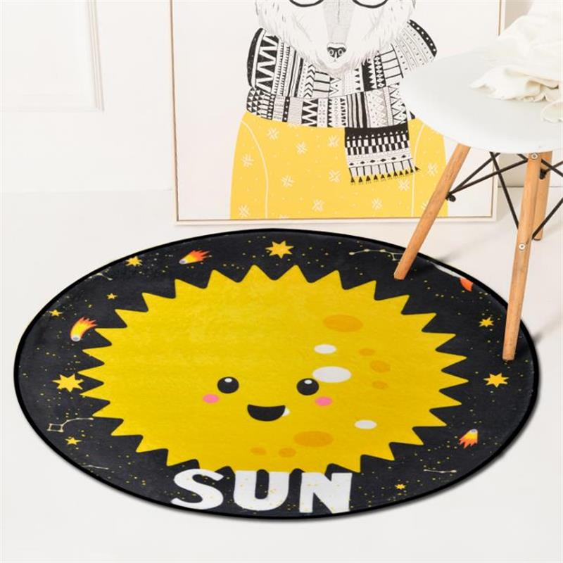 Cartoon Planet Carpet Round Thick Soft Carpets For Living Room Computer Chair Area Rugs  ...