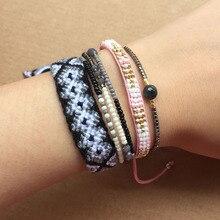4pcs Bracelet Set Handmade Gray Weave Braided Friendship Bracelets Women Multi Layers Rise Beads Bohemian Jewelry