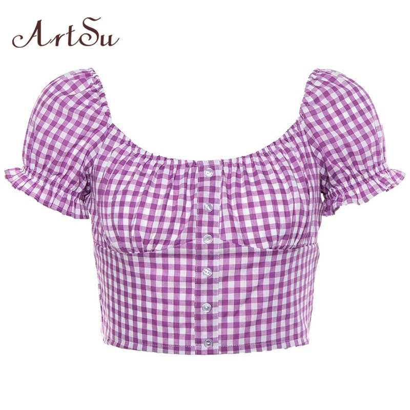 ArtSu Vintage Plaid Vogue T hemd Laterne Hülse Frauen T-shirts Lässige Mode Karierten Crop Top Damen T-shirt Sommer ASTS20916