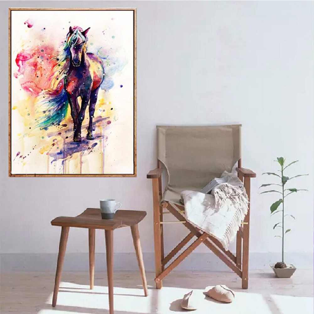 Animal Wall Poster Colorful Horse Abstract Art Poster Canvas Painting Wall Picture Print Modern Home Living Room Decoration
