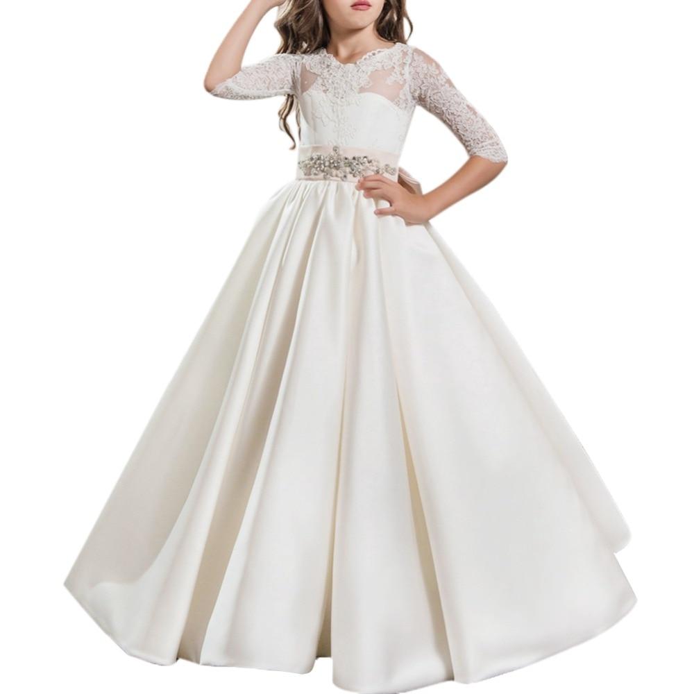 2019 robe de princesse fleur filles mariage robe de demoiselle d'honneur dentelle plissée balançoire longue robe filles enfants fête d'anniversaire filles robes