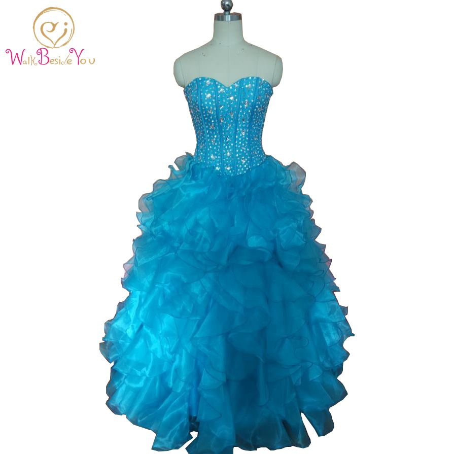 100% Real Images Blue Quinceanera Dresses for 15 years long sweetheart 2017 Ball Gown Long vestido de debutante para 15 anos