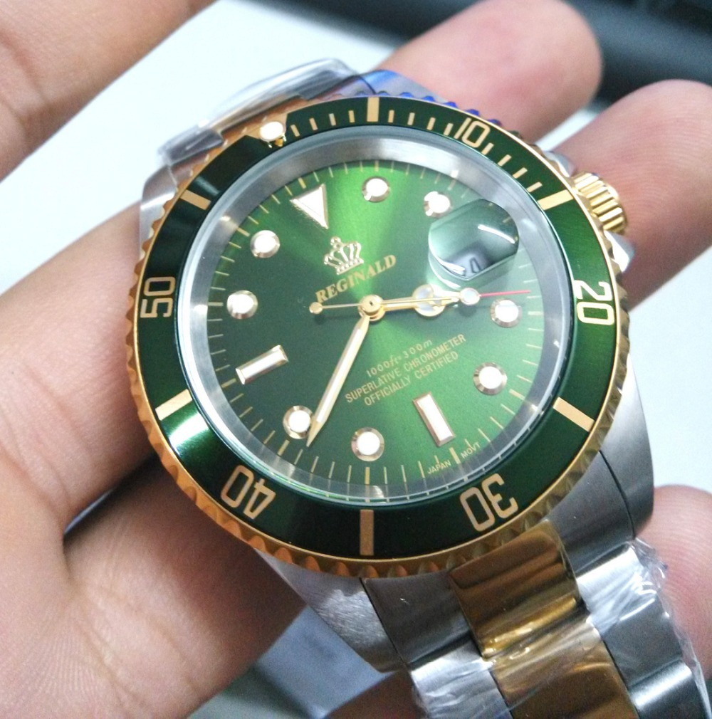 New REGINALD Watch Men GMT Rotatable Bezel Stainless steel Band Green Dial Date Sports Quartz Watches reloj relogio masculine luxury reginald watch men rotatable bezel gmt sapphire date gold stainless steel sport blue dial quartz watch reloj hombre