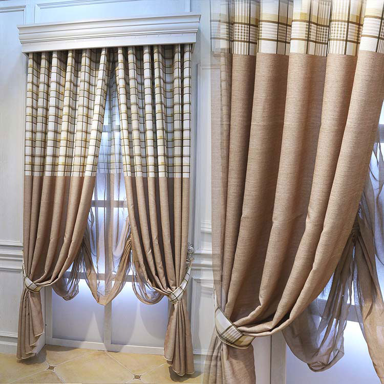 Simple Striped Cotton Plaid Curtains Living Room Bedroom Balcony American Country  Curtains(China (Mainland