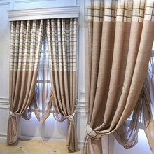 simple striped cotton plaid curtains living room bedroom balcony american country