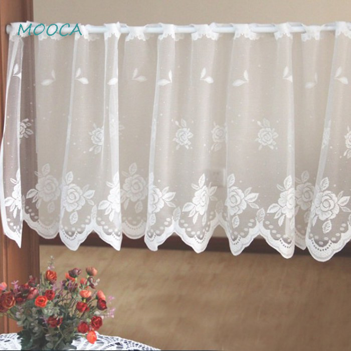White Lace Kitchen Curtain Rose Decorative Short Curtain