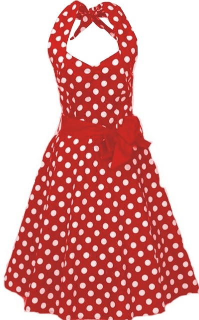 Robe rouge a pois blanc grande taille