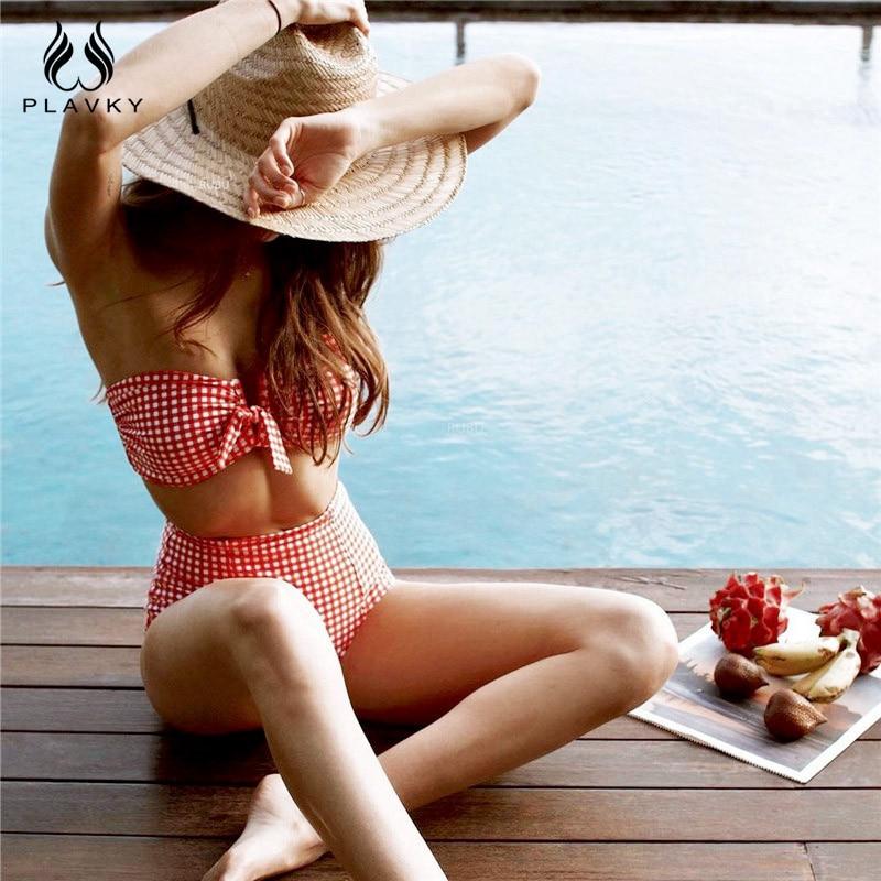 Sexy Retro Plaid High Waist Bikini 2020 Swimwear Women Swimsuit Female V Wire Bandeau Swim Bathing Suit Biquini Bathers