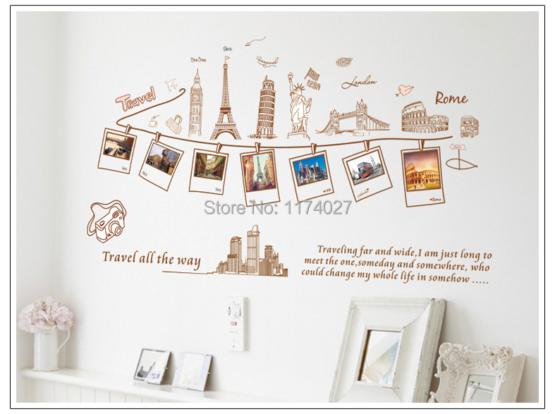 Free shipping  Euramerican Style Travel Around The World Design Removable Wall Stickers
